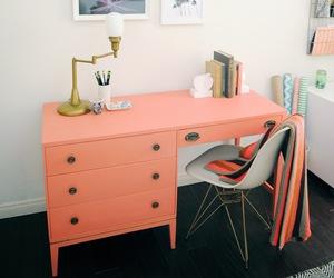 coral, desk, and decor image