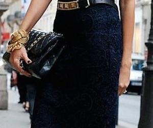 belt, tshirt, and chanel handbag image