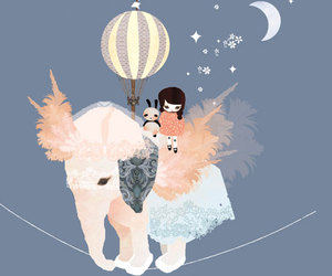 elephant, moon, and stars image