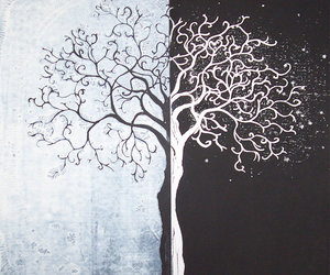 tree, black and white, and art image