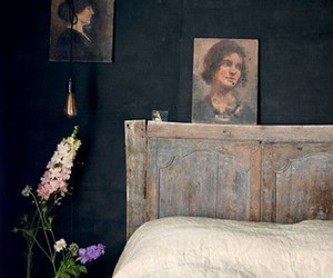 bed, headboard, and vintage image