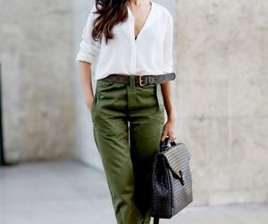 bag, fashion, and white blouse image