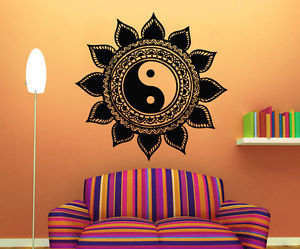 mandala, wall decals, and yin yang image