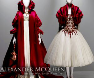 Alexander McQueen, fashion, and red image