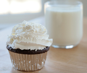 food, cupcake, and milk image
