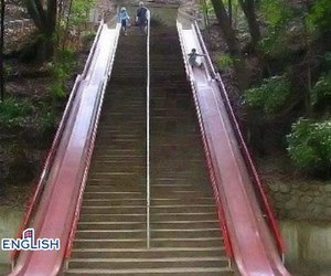 funny, slide, and stairs image
