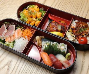 bento, rice, and sushi image