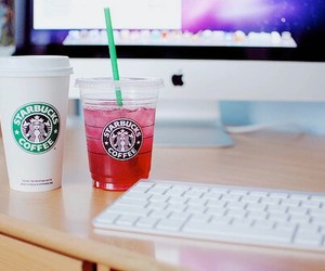 starbucks, apple, and coffee image