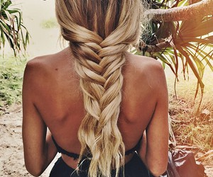 blonde, hair, and tresse image