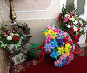 balloons, flowers, and gift image