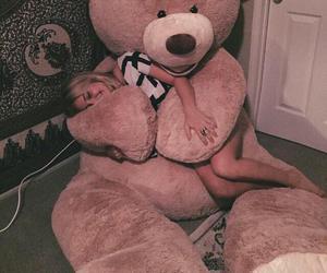girl, bear, and hug image