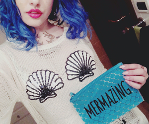 mermaid, shell, and tattoo image