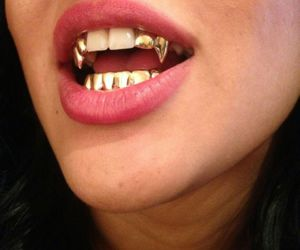 gold, teeth, and lips image