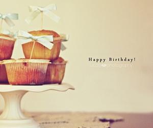 happy birthday, cake, and cupcake image