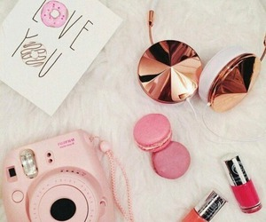 pink, headphones, and camera image