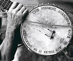 banjo, black and white, and music image