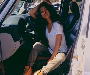 girl, car, and beauty image