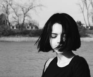 girl, black, and black and white image