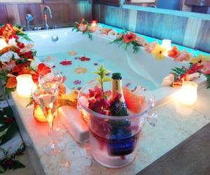 flowers, bath, and romantic image