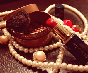 dior, lipstick, and pearls image