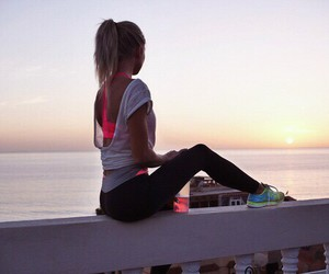 fitness, girl, and sunset image