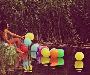 girl, balloons, and summer image