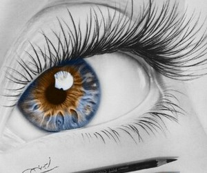 drawing, eye, and blue image