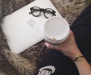 nike, coffee, and glasses image