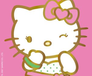 hello kitty, heart, and pink image