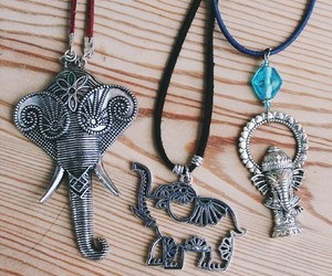 necklace, elephant, and hippie image