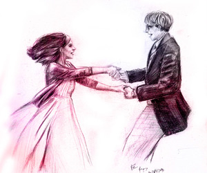 couple, drawing, and dance image