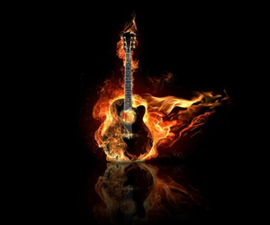 fire, wallpaper, and guitar image