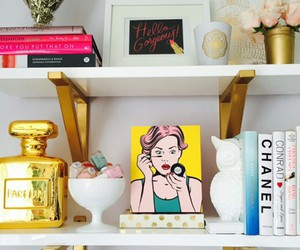 fashion books, white frames, and white shelves image