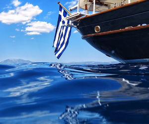 boat, flag, and Greece image
