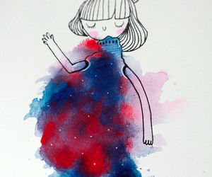 dress, watercolor, and girl image