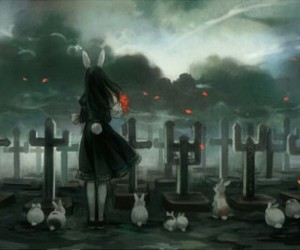 anime, cemetery, and rabbit image