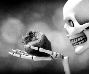heart, love, and skeleton image