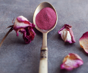 flowers, spoon, and pink image