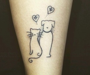 tattoo, cat, and dog image
