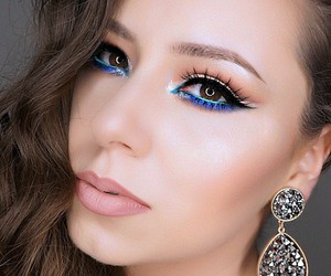 blue, makeup, and cat eye image