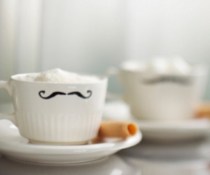 moustache, cup, and coffee image
