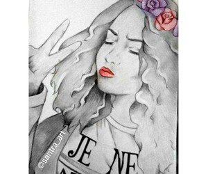 drawing, grunge, and hippie girl image