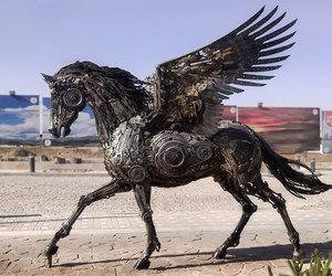 art, horse, and pegasus image