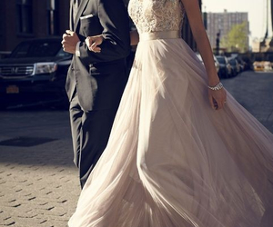 dress, couple, and wedding image