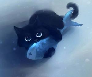 cat, fish, and black image
