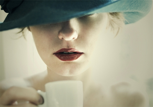 hat, coffee, and lips image