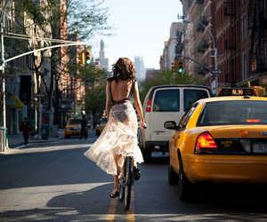 girl, bike, and city image