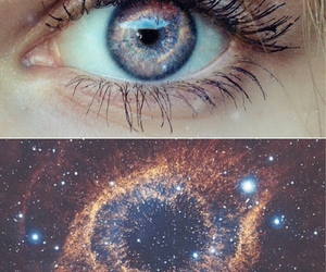 blue, eyes, and galaxy image