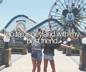 disneyland, best friends, and travel image