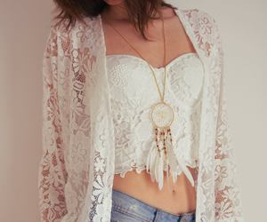 coat, crochet, and lace image